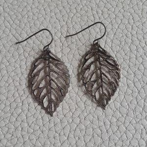 Vintage silver leaf earrings